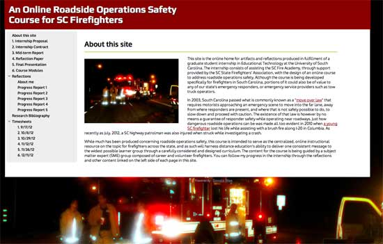 Screenshot of Emergency Response to Highway Incidents site