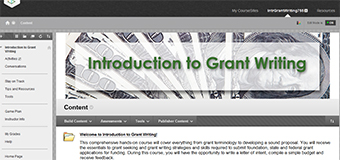 Screenshot of Grantwriting course delivered through Coursesites